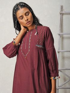 Buy Maroon Hand embroidered Rabari Handloom Khadi Kurta Cotton Women Kurtas Online at Jaypore.com
