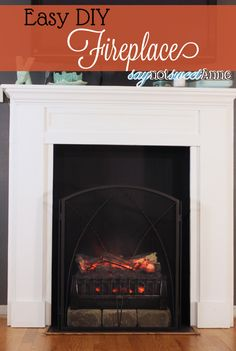 DIY Easy & Removable Fireplace - Create a beautiful and believable fireplace on the cheap. Moving? Take it with you! | Saynotsweetanne.com |...