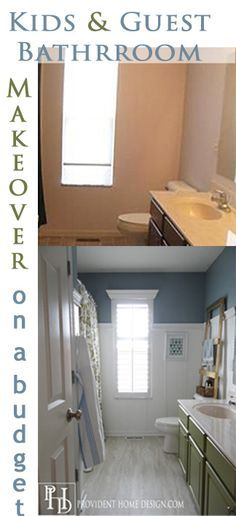 Kids and Guest Bathroom Makeover on a budget.  Vinyl Floor Tiles, Board and Batten, painted vanity, and DIY Plantation Shutters!  Come check it out!