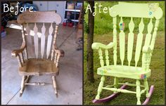 From boring to bright! rocking chair makeover, chair refinished    http://www.facebook.com/pages/Live-Simply-Get-Crafty/300457426664806