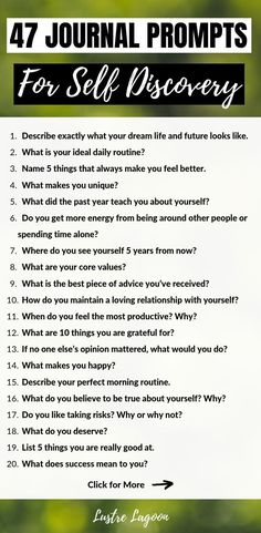These 47 journal prompts for self discovery will help you manifest the life of your dreams and reconnect with your true sense of self. Journal Questions, Therapy Journal, Art Therapy, Journal Writing Prompts, Journal Ideas, Journal Challenge, Journal Entries, Manifestation Journal, Self Care Activities