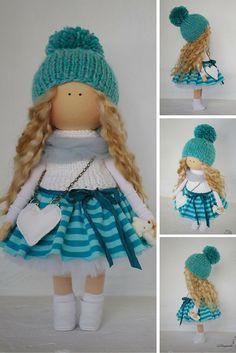 Art doll in handmade green turquoise blonde Tilda doll Decor doll Interior doll Soft doll Fabric doll