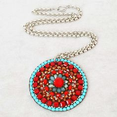 Turquoise Red large mandala crystal beaded necklace, Southwestern necklace, Mexican Ethnic jewelry, Frida Kahlo style, Boho Gypsy necklace