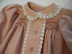 Thanksgiving dress made with antique crochet trim. Pattern is Children's Corner's Maggie.