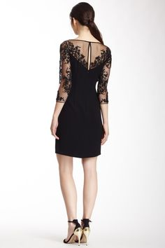 Monique Lhuillier Beaded Sleeve Dress #lbd