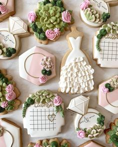 Cut Out Cookies, Iced Cookies, Fun Cookies, Sugar Cookies, Edible Wedding Favors, Wedding Sweets, Wedding Cookies, Engagement Cookies, Cookie Crush