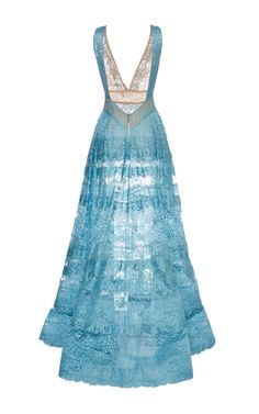 Elie Saab Blue Lace Deep V-Neck Gown by Elie Saab for Preorder on Moda Operandi