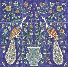 GORGEOUS COMBO OF 2 OF MY FAV THINGS...COBALT BLUE & PEACOCKS.  I do believe this is Armenian.