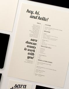Self Promo by Sara Duncan, via Behance || like a self promoting flyer? I like