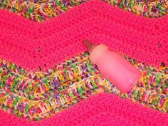 Neon Pink Baby Girl Pink Crocheted  Blanket by Freshofftheneedle, $25.00