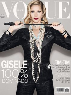 As she is today: The most recent of her more than 1,200 covers is this December 2015 copy of Vogue Brasil