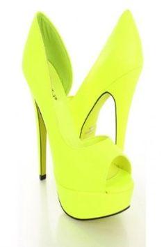 Breckelle Lilian-02 Neon Pink Yellow Side Cut Out Pump Heels