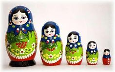 Russian doll set of 5. Blue headscarf, light green apron, white trim and flowers, red base.