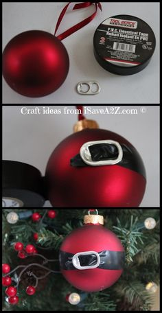 DIY Santa Ornament: black electric tape & tab from can :)