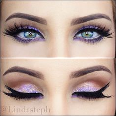 Brown, and Shimmer Gold smokey eye Inner corner and middle eyelid Purple Sparkle, Purple under eye shadow  #Everyday #Experienced #Classy  #Neutral w/ a pop
