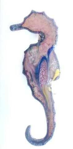 brooch - seahorse scrolled dark blue, pink, yellow on clear enamel £7.50