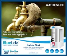 Ro Water Purifier, Water Purification, Reverse Osmosis Water, Healthy Water, Mineral Water, Art And Technology, Water Systems, Water Plants, Blue Life