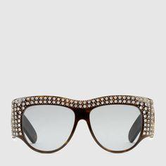41c1016c3c7f Gucci Oversize acetate sunglasses with crystals Sunglasses Accessories