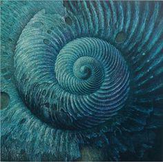 ✨  Olaf Hoppe - Atlantis 1 Blau, 2014, Farb-Holzschnitt von 8 Holzstöcken, Auflage 200 Exemplare auf Buettenpapier, 37x37 cm ::: Atlantis 1 Blue, Colour Woodcut