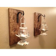 Rustic Lantern Set Wall Decor Rustic Bathroom Decor Wall Sconce Wall... ($48) ❤ liked on Polyvore featuring home, home decor, candles & candleholders, gold, home & living, home décor, wall décor, wall hangings, colored lanterns and rustic home decor