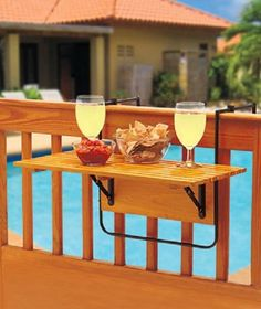 Patio Table Wood Deck Rail End Table Folding Beverage Tray Balcony Space Saver  #FoldingPatioRailSideTable