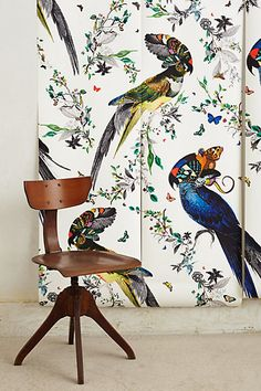 All kinds of flora and fauna hidden in this bird wall paper!