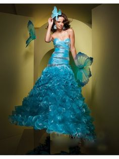 Organza A-Line Strapless Sweetheart Neckline Rouched Bodice Prom Dress
