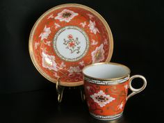 Porcelain cup and saucer set by Chamberlain, Worcester, England 1820
