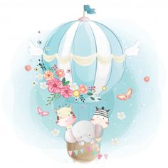 Cute Cartoon Elephant And Balloons Illustration Illustration Mignonne, Cute Illustration, Cute Giraffe, Cute Elephant, Baby Animal Drawings, Cute Drawings, Bebe Vector, Air Balloon, Balloons