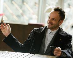 Jonny Lee Miller in Elementary (2012).  A rare smile.