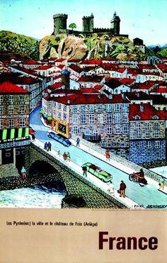 Vintage Travel Poster - Foix - Les Pyrénées - La ville et le Château de Foix - France - by Demonchy.