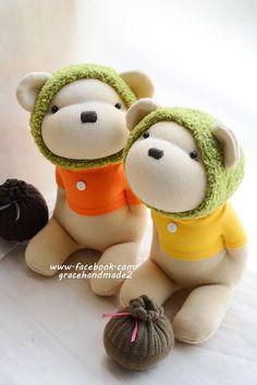 Grace--#368+369 sock Honey Bears(Green)