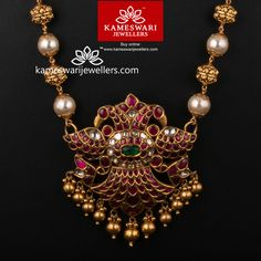 Gold Jewelry Extravagant Medly of Uncut Ruby and Pearls - Necklace L : 23 inches; W : inches Pendant L : inches; Pearl Necklace Designs, Jewelry Design Earrings, Gold Earrings Designs, Ruby Jewelry, Gold Jewellery Design, Bead Jewellery, Temple Jewellery, Bridal Jewelry, Beaded Jewelry