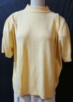 Sag Harbor  Size 3X Yellow Mock Neck Pullover Sweater Short Sleeve Office Wear #SagHarbor #TurtleneckMock #Work
