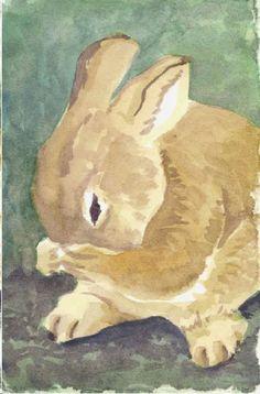 Digital Print Bunny Art Print Bunny Rabbit Print Nursery Decor Animal Print Art from Original Watercolor 4 x 6. $10.00, via Etsy.