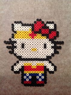 Wonder Woman Hello Kitty perler beads by Jennifer Harrison