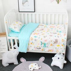 Baby Cotton Cartoon Stereo Toy Bed Circumference Set Kit Crib Washable 7 Piece Bed Set Superior Materials Bedding Sets