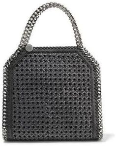 Stella McCartney Falabella Mini Woven Straw And Faux Leather Shoulder Bag