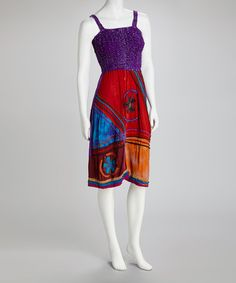 Take a look at this Purple & Red Smocked Sleeveless Dress by Royal Handicrafts on #zulily today!