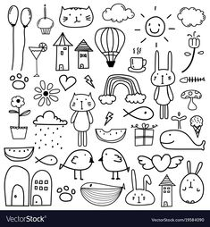 Hand Drawn Doodle Kids Clipart, Doodle Clipart For Kids, Doodle Art, Cat Clipart,Gift Box Hand Doodles, Flower Doodles, Cute Doodles, Doodle Flowers, Drawing Flowers, Little Doodles, Doodle Sketch, Doodle Drawings, Easy Drawings
