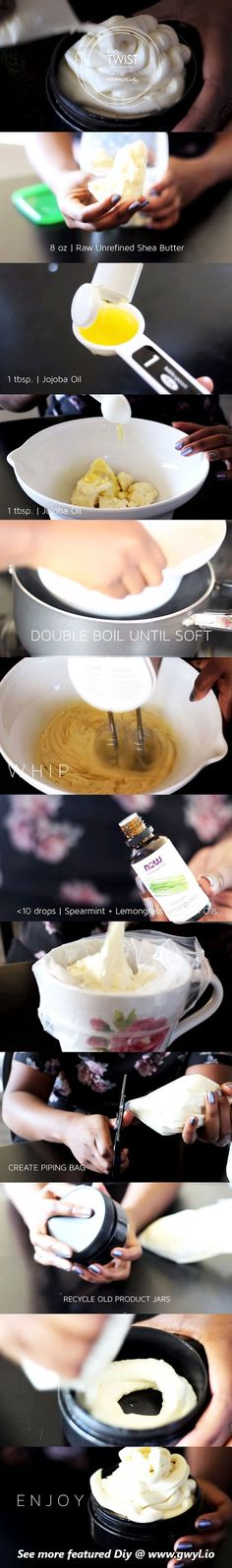 DIY Whipped Shea Butter made with pure oils and essential oils, is a great way of reviving moisture on your tired and dry skin, especially in cold weathers. See video and written instructions here==> | Lucious DIY Whipped Shea Butter For Hair & Skin | http://gwyl.io/diy-whipped-shea-butter/