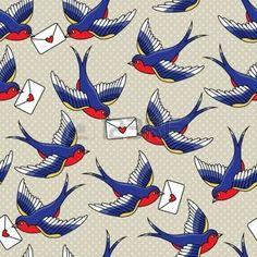 hirondelle: modèle de la vieille école avec des oiseaux et des lettres Illustration