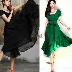 New Women Summer Boho Long Dress Evening Party Beach Dresses Chiffon Dress LM #Unbranded #Maxi #Casual