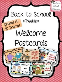 Back to School - Welcome Postcards FREEBIE! (30 Themes)