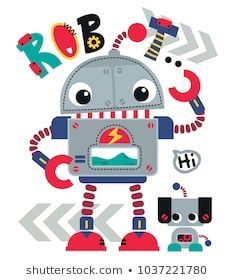 Cute cartoon robot waving with robotic dog friend isolated on white background illustration vector , T-Shirt design for kids. Robot Clipart, Robot Theme, Robot Illustration, En Stock, Summer Kids, Dog Friends, Cute Cartoon, Decoration, Doodles