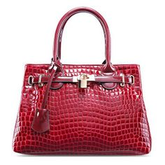 Trendy Crocodile Print and Metallic Lock Design Women's Tote Bag Cheap Tote Bags, Womens Tote Bags, Tote Bags Online, Satchel Handbags, Cotton Tote Bags, Luggage Bags, Women's Accessories, Purses And Bags, Crocodile