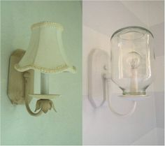 before>after applesauce jar sconce