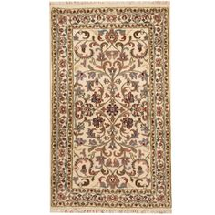 Nice Herat Oriental Indo Hand-knotted Tabriz Ivory/ Green Wool Rug (3' x 5') | Overstock.com Shopping - The Best Deals on 3x5 - 4x6 Rugs