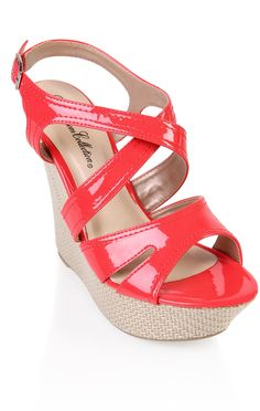 Deb Shops #coral patent open toe canvas #wedge