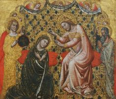 Vitale da Bologna - Coronation of the Virgin. Saint John the Evangelist on the left is recognisable by his symbol, the eagle Hail Holy Queen Prayer, Jesus Crown, Assumption Of Mary, St John The Evangelist, Catholic Art, Catholic Daily, Catholic Churches, Our Lady Of Sorrows, Christmas Portraits